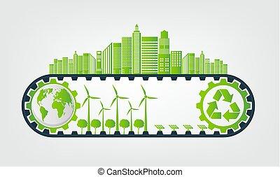ambientale, vettore, concetto, sostenibile, energia, risparmio, ingranaggio, illustrazione, ecologia, sviluppo