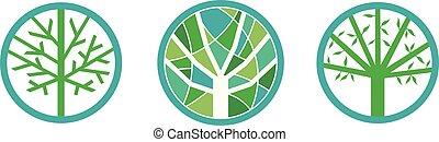 ambiente, albero, set, verde
