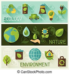 ambiente, bandiere, ecologia, icons.