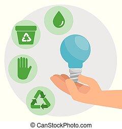 ambiente, bulbo, conservazione, risparmiare, mani