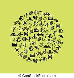 ambiente, cerchio, icone