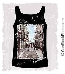 ambiente, città, immagine, camicia