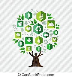 ambiente, concetto, ecologia, albero, verde