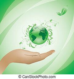 ambiente, concetto, sfondo verde