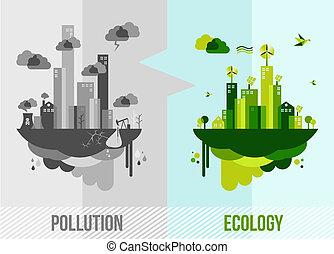 ambiente, concetto, verde, illustrazione