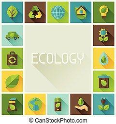 ambiente, cornice, ecologia, icons.