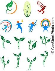 ambiente, eco, protezione, amichevole, simboli