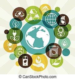 ambiente, ecologia, fondo, icons.
