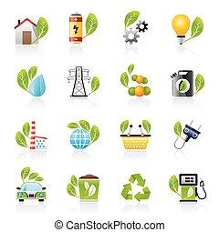 ambiente, ecologia, icone