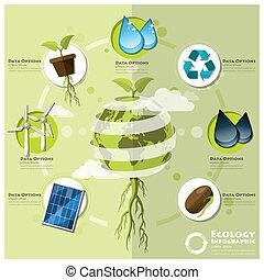 ambiente, ecologia, infographic, elemento