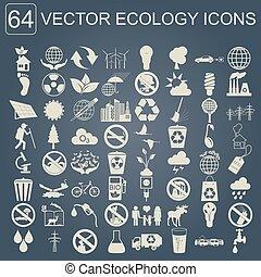 ambiente, ecologia, set, icona