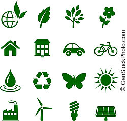 ambiente, elementi, set, icona