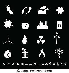 ambiente, energia, pulito, icone