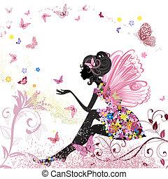 ambiente, farfalle, fiore, fata