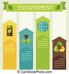 ambiente, infographic, ecologia, icons.