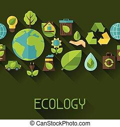 ambiente, modello, ecologia, seamless, icons.