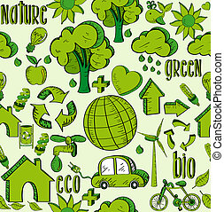 ambiente, modello, verde, icone