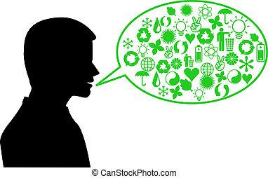 ambiente, parlare, verde, umano