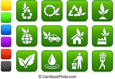 ambiente, più verde, collezione, icona