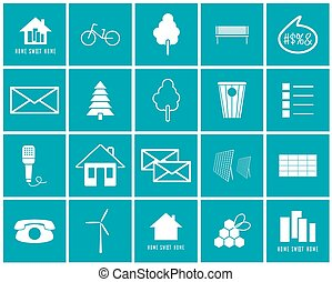 ambiente, set, vettore, icone