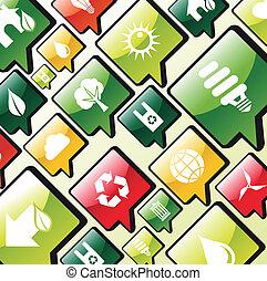 ambiente, verde, apps, fondo, icone