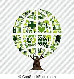 ambiente, verde, concetto, albero, amichevole