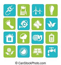 ambiente, verde, ecologia, icona