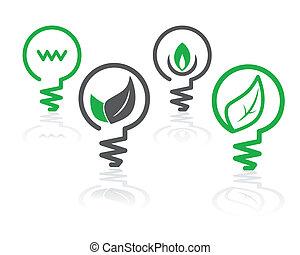 ambiente, verde leggero, bulbo, icone
