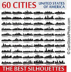 ameri, incredibile, stati, silhouette, unito, set., orizzonte, città