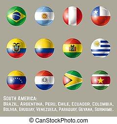 america, bandiere, rotondo, sud