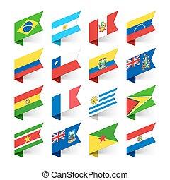 america, bandiere, sud, mondo