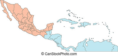america centrale, editable, paesi