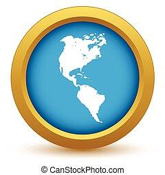 america, continente, oro, icona