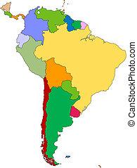 america, editable, sud, paesi