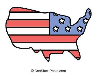 america, mappa, bandiera, stati uniti, paese
