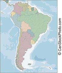 america, mappa, continente, paesi, sud