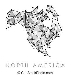 america, mappa, rete