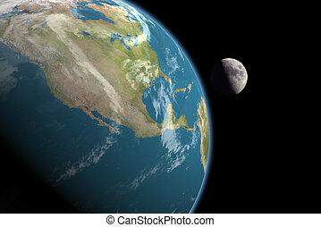 &, america, nord, luna