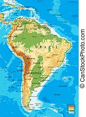 america-physical, mappa, sud