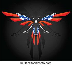 americano, astratto, volare, bandiera