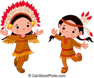 americano, ballo, indiani