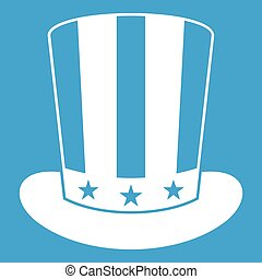americano, cappello, bianco, icona