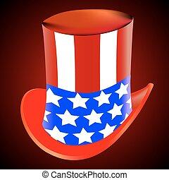 americano, cappello, sfondo rosso