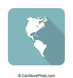americano, continente, icona