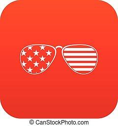 americano, digitale, occhiali, rosso, icona