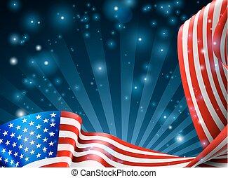 americano, disegno, bandiera, fondo