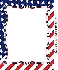 americano, disegno, cornice, themed