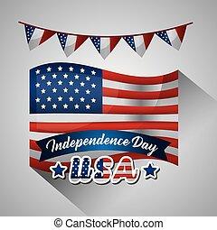 americano, giorno, indipendenza, felice