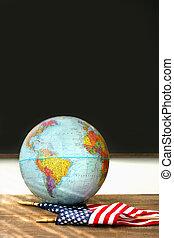 americano, globo mondo, bandiera, scrivania, scuola