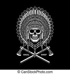 americano indiano, attraversato, tomahawks, cranio, capo, nero
